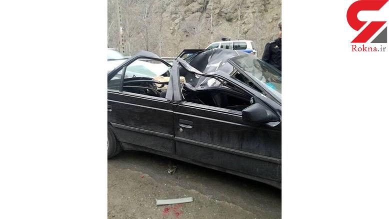 مرگ وحشتناک دختر ۱۸ ساله براثر سقوط سنگ در جاده چالوس + عکس