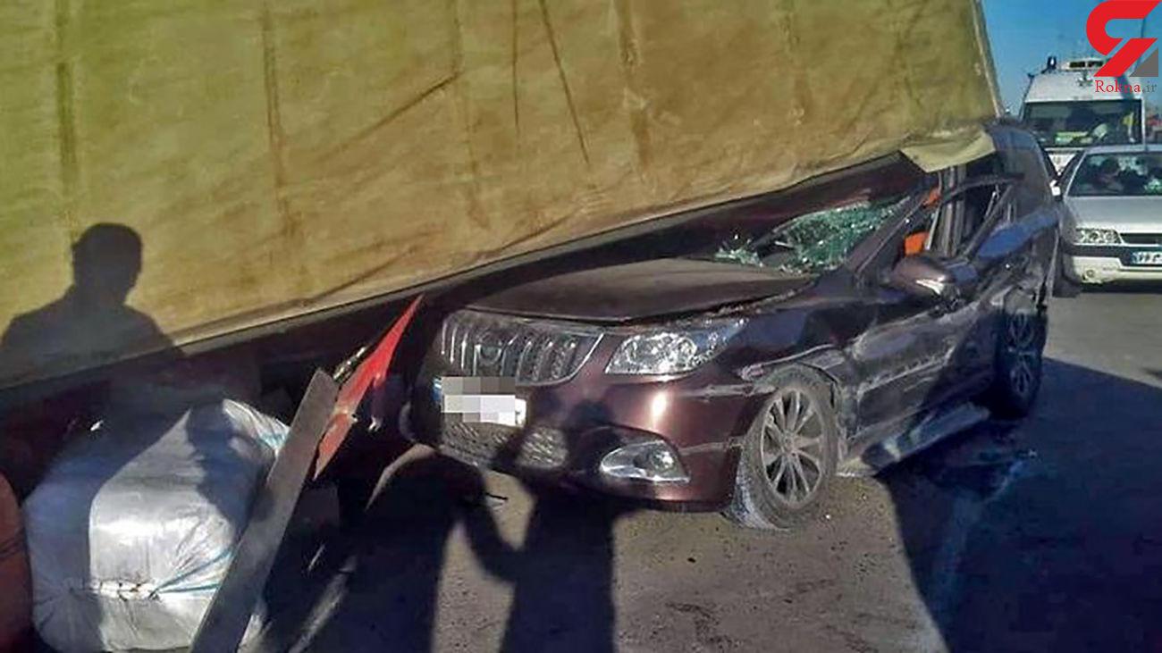 خودرو هایما زیر چرخ های تریلی در مشهد له شد + عکس وحشتناک