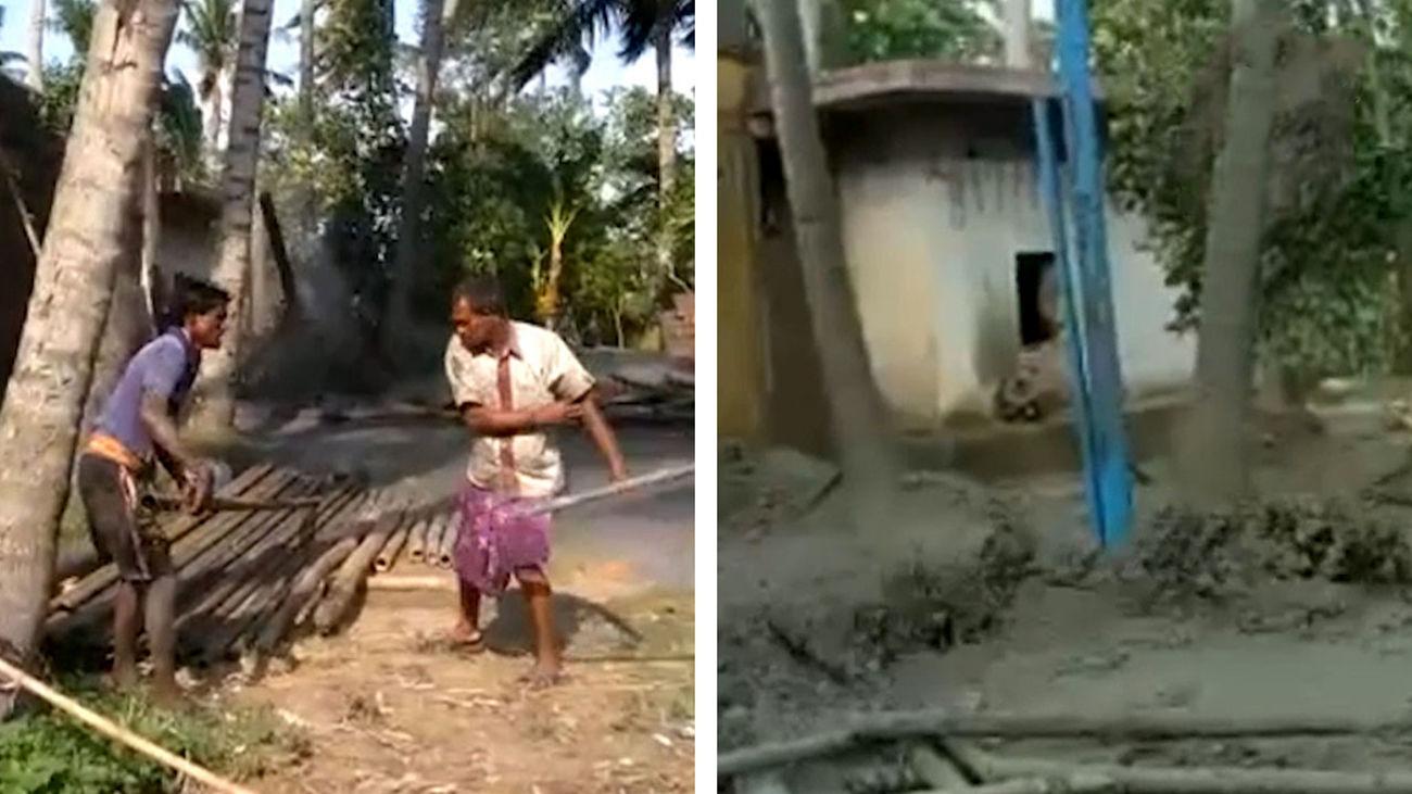 جوشیدن آب از حیاط خانه مرد هندی به شکلی جالب+ فیلم