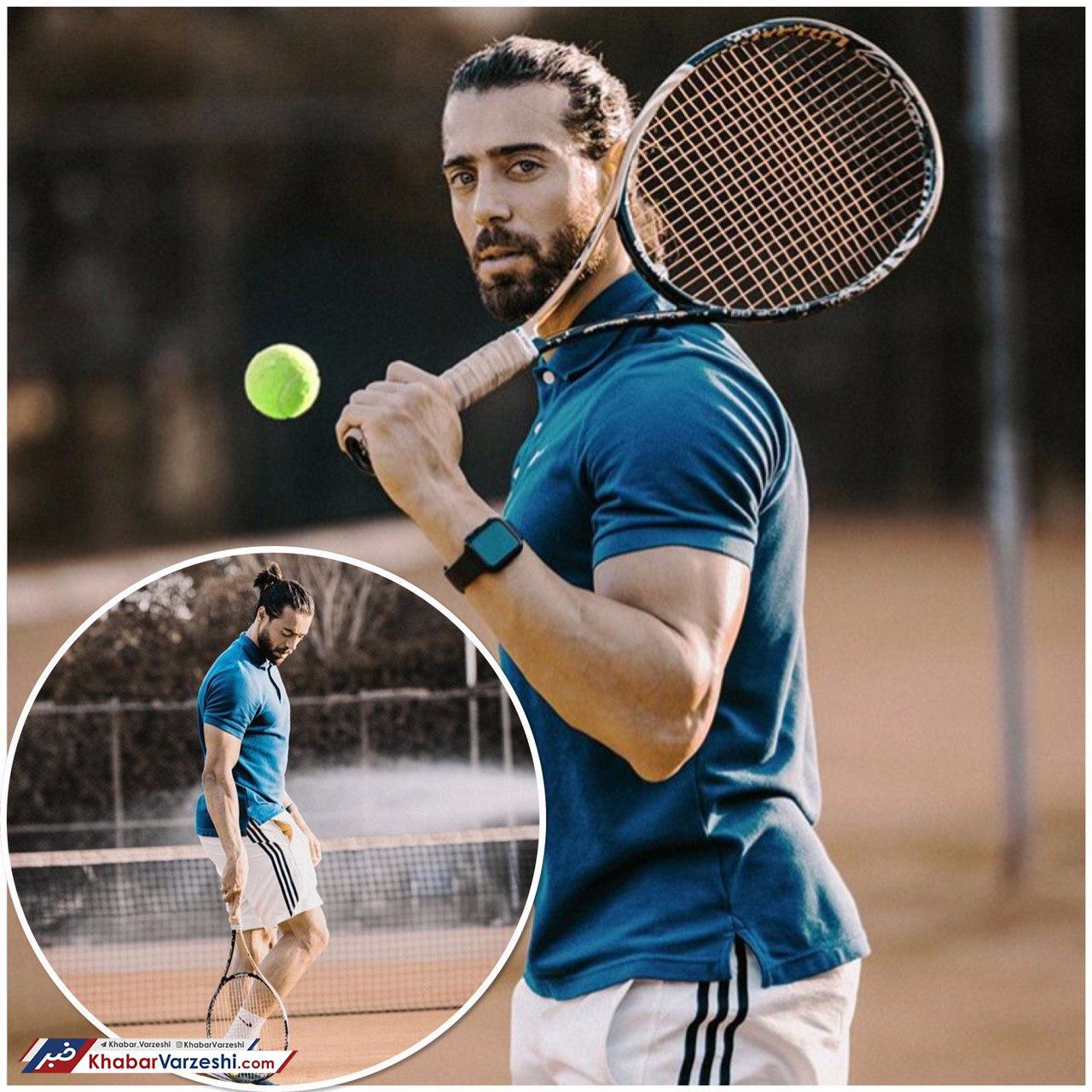 عکس| فوتبالیست معروفی که ناگهان تنیسور شد!