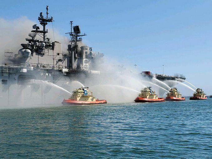 مهار آتش سوزی در ناو آمریکایی چندین روز طول خواهد کشید
