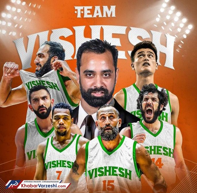 عکس  حدادی و صمد در تیم منتخب بسکتبال آسیا