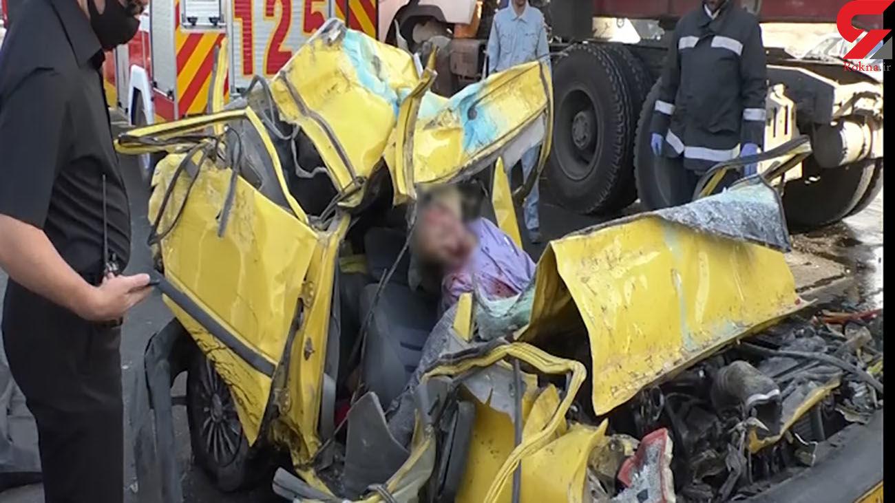 عکس هولناک از له شدن زن و مرد اصفهانی در تاکسی / پراید زیر تریلی مچاله شد