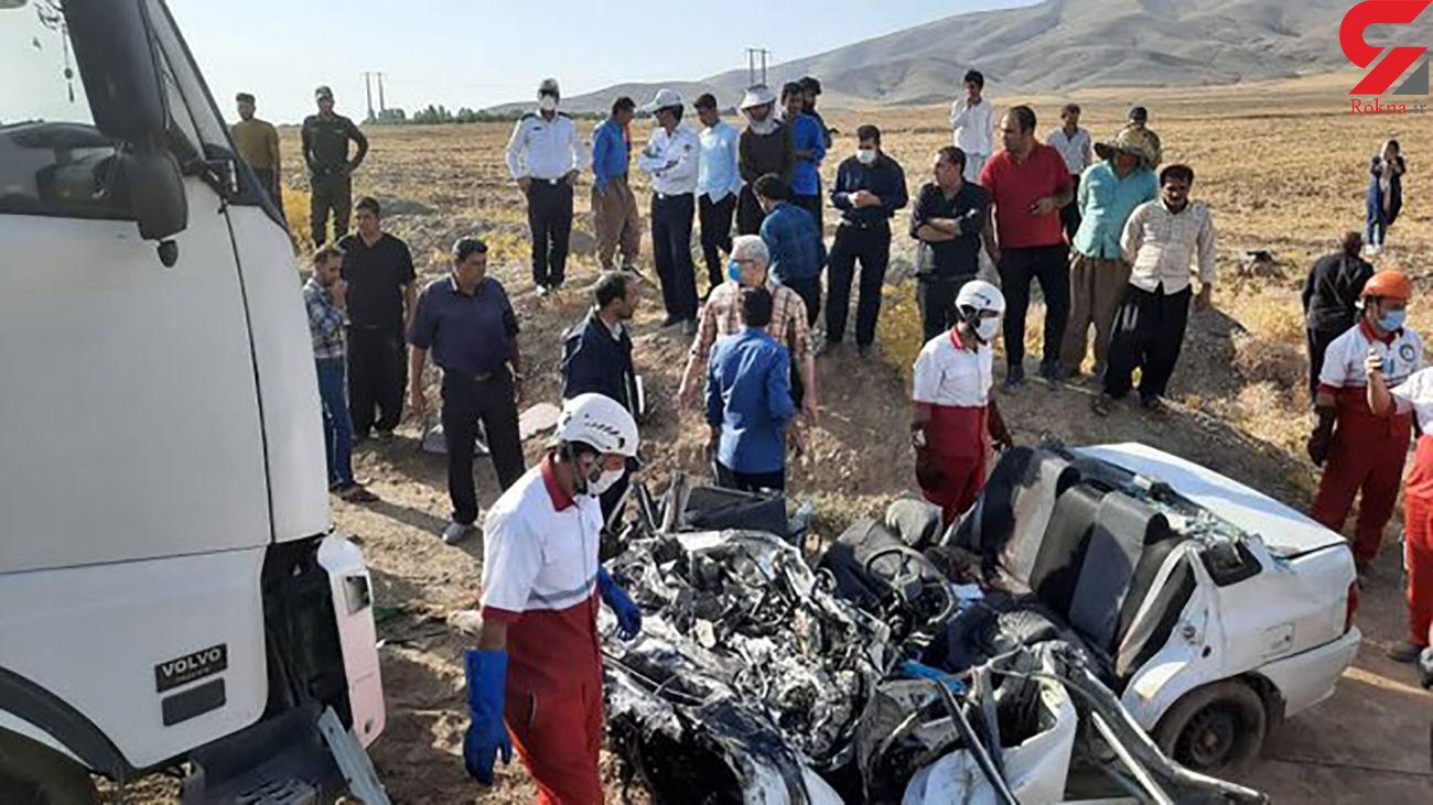 فاجعه در جاده تویسرکان/ 6 سرنشین پراید در دم جان باختند / ساعتی قبل رخ داد + عکس