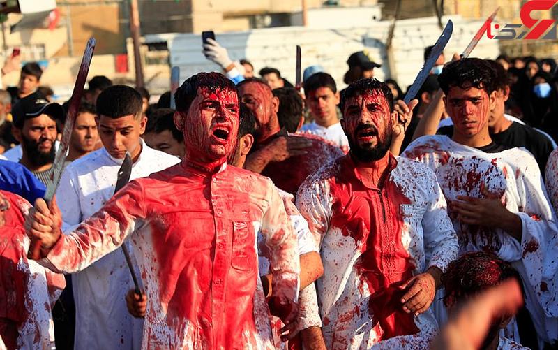 ۱۶+ / ۵ عکس پر از خون در عاشورای نجف / شمشیرها خون به پا کردند