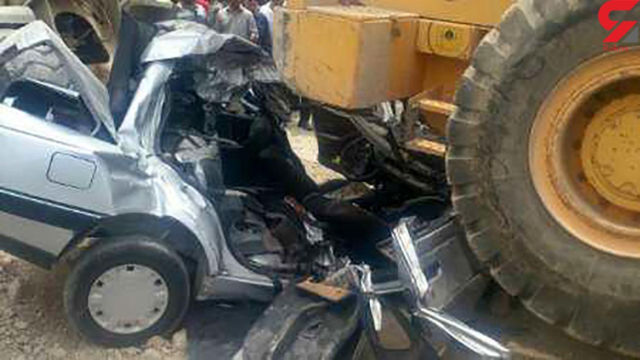 تصادف بیل مکانیکی با یک دستگاه خودروی پژو در ورامین