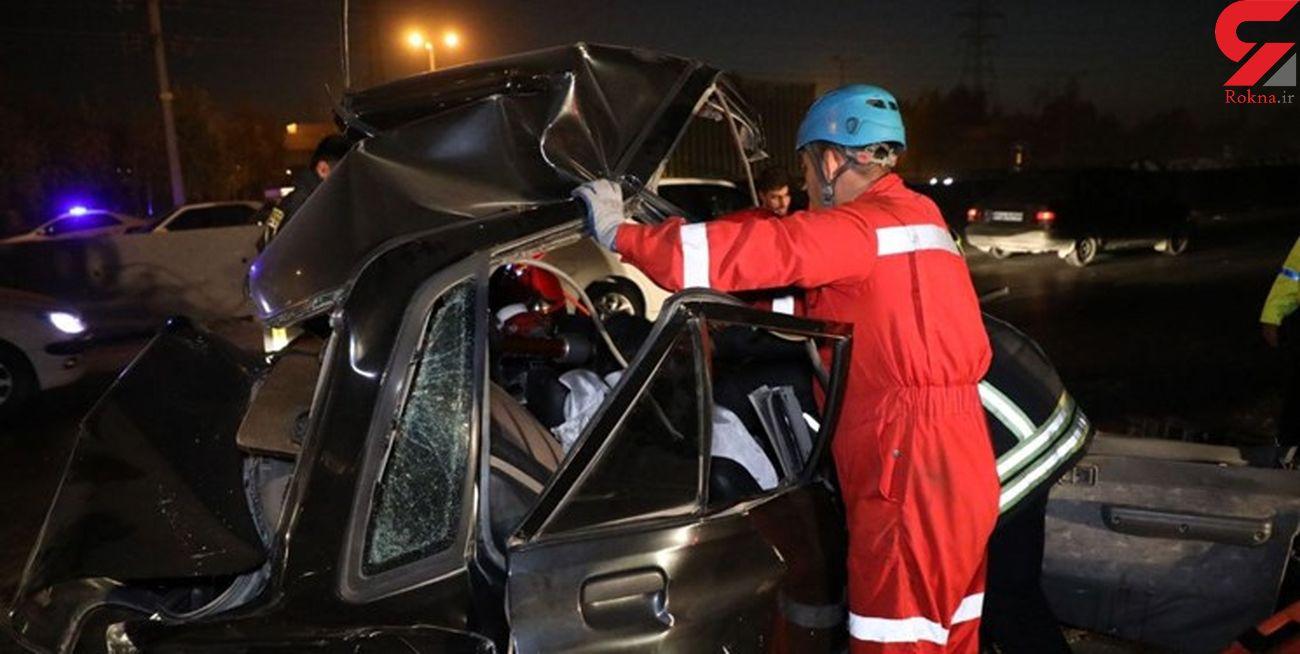 تصادف زنجیرهای ۱۱ خودرو در جاده مشهد به گلبهار+ عکس ها