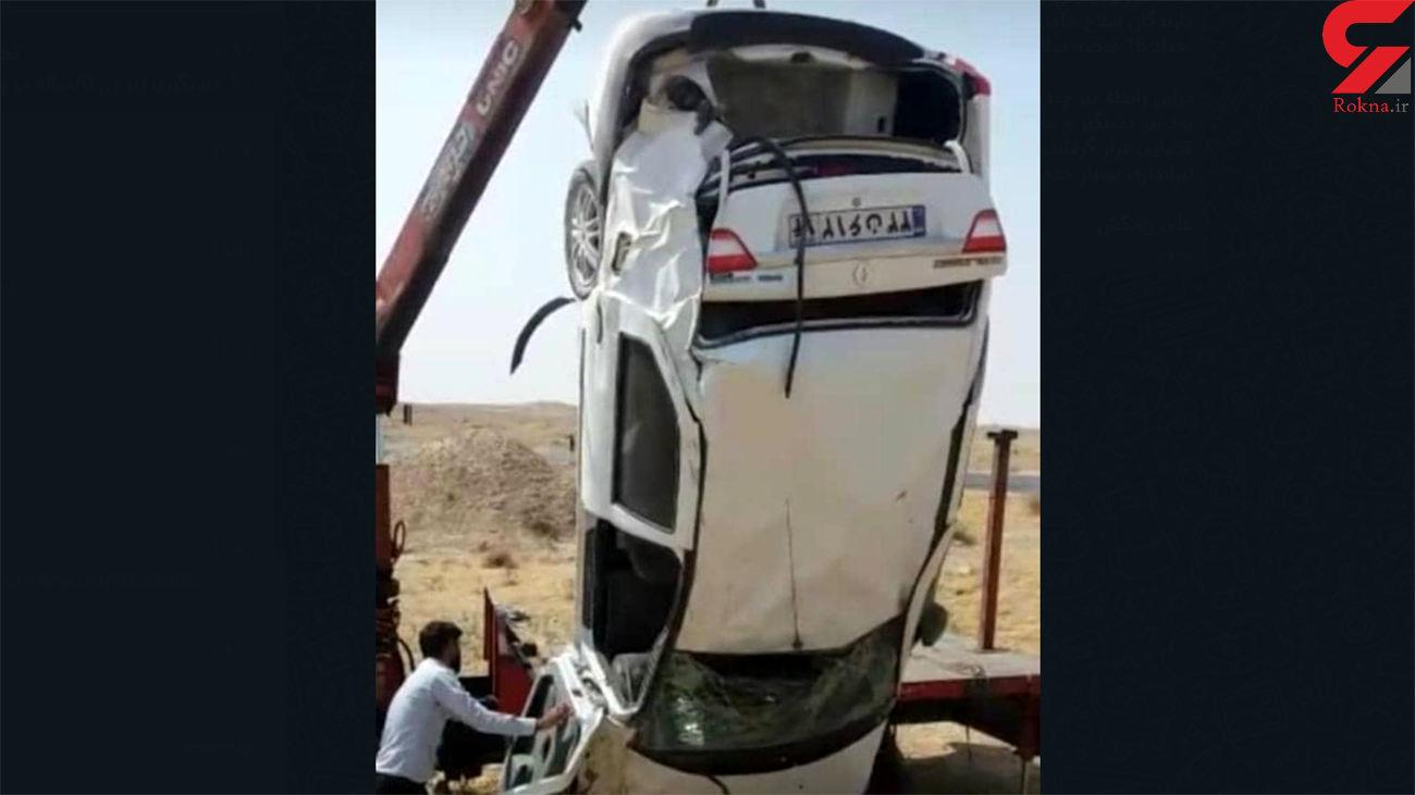 چپ شدن خودروی یک پلیس درجاده ماهشهر به رامهرمز