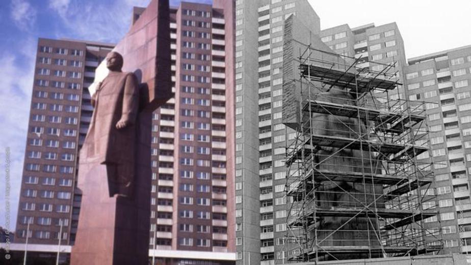 این مجسمه ۱۹ متری از لنین که از سنگ گرانیت قرمز تراشیده شده، از سال ۱۹۷۰ تا ۱۹۹۱ در فریدریشهاین قرار داشت