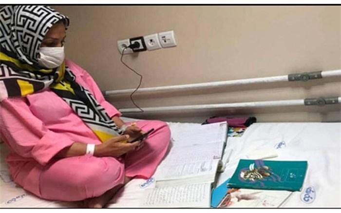 تدریس روی تخت بیمارستان؛ معلم بوشهری درس ایثار میدهد