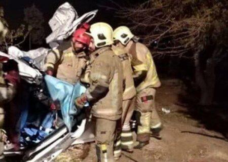 واژگونی مرگبار پژو ۲۰۷ با یک کشته و ۴ زخمی در اتوبان تهران _ قم