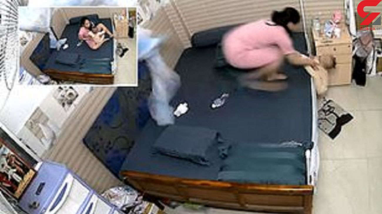 واکنش سریع مادر حین سقوط کودک از تختخواب