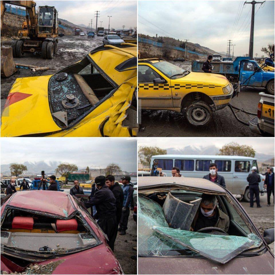 دیوار قبرستان سنندج روی ۱۲ خودرو آوار شد +تصاویر