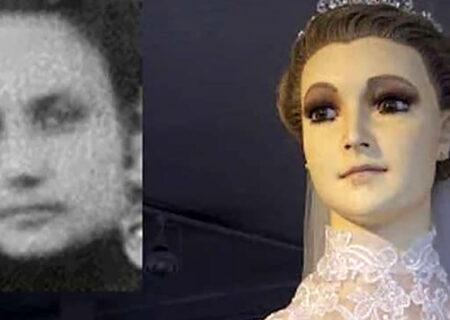 حضور مانکن مومیایی شده در ویترین فروشگاه لباس عروس + عکس