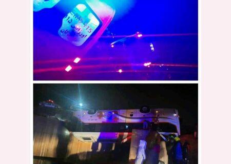تصادف هولناک اتوبوس و نیسان بامداد امروز در لردگان / ۲ کشته و ۱۸ تن مجروح شدند + عکس