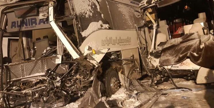 تصادف 2 اتوبوس و کشنده در اتوبان پیامبر اعظم بستان آباد