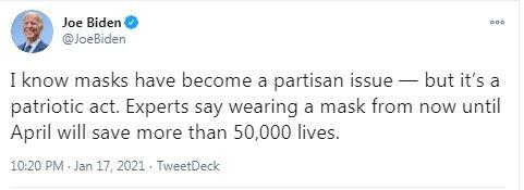 بایدن: استفاده از ماسک در آمریکا حزبی شده است