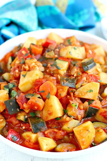 دستور خوراک کدوسبز ایتالیایی روستایی با سیبزمینی / طرز تهیه