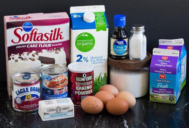 مواد لازم برای تهیه کیک سه شیر یا Tres Leches