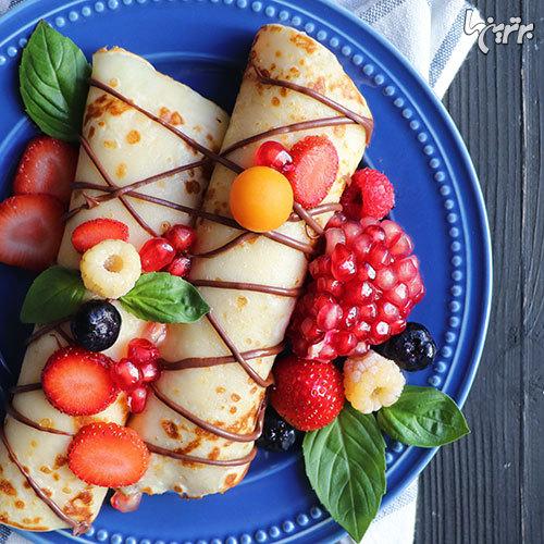 رول کرپ با انار؛ صبحانه دلچسب فرانسوی