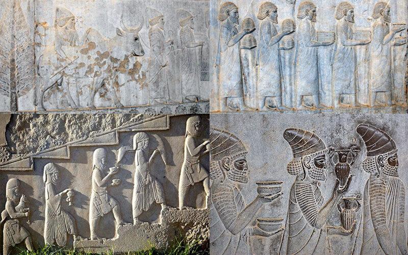 یادمان هدیه دادن اقوام مختلف به دربار ایران در دیواره های سنگی تخت جمشید کنده کاری شده