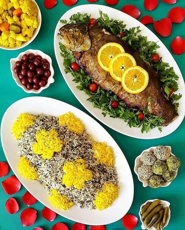 سبزی پلو با ماهی همراه یا مخلفات
