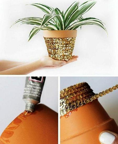 تزیین گلدان با پولک