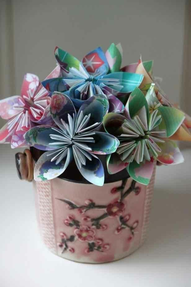 گل های اریگامی