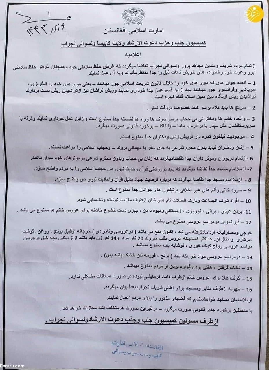 محدودیت در افغانستان