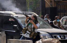 تیراندازی هنگام برگزاری مراسم تشییع جنازه قربانیان حوادث بیروت